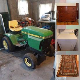 MaxSold Auction: This online auction features furniture such as a wooden table, side tables, chairs, Cherrywood slant front desk, Hepplewhite dresser, sofa, Mahogany pedestal dining table, American Federal cherrywood desk, Windsor side chairs, wicker chairs and more, pots, Weber grill, yard and garden tools, John Deere riding mower, books, kitchenware, small kitchen appliances, rugs, etchings, Wedgwood, Japanese Imari plate and other china, fireplace tools, office items, washing machine and dryer, sports memorabilia and much more!