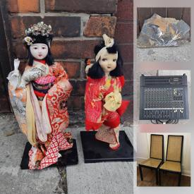 MaxSold Auction: This online auction features posters, art, steam cleaner, antique curved windows, signed ceramics, decor, mixing board, vintage records, ceramics, Stangl pottery, antique adding machine, vintage model kits, brass candlesticks, antique engraving, brass items, small wood table, side table, cane chairs and much more!