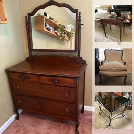 MaxSold Auction: This online auction features an antique sewing machine, vintage cameras, desk set, resin sofa table, coffee table, sculptures, wheelchair, ladder, antique trunks, vintage dresser, TVs, vintage games, memorabilia, barware, treadmill, rug, brass lamps, wall art, costume jewelry and much more!