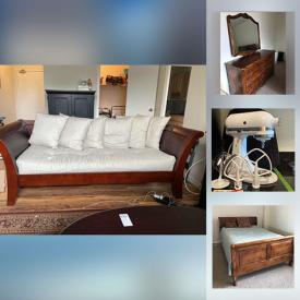 MaxSold Auction: This online auction features sterling silver, collectible dolls, furniture such as table with chairs, cabinet, drafting table, sleigh bed and upholstered couch, kitchen appliances, wall art, handbags, lamps, books, DVDs and much more!