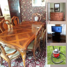 """MaxSold Auction: This online auction features Lladro, Hummel, pewter, furniture such as Thomasville dining set, love seat, coffee table, and queen size bed, Craftsman lawn mower, yard tools, Delta faucet, 40"""" Samsung TV, Wii console with games, glassware, wall art, area rugs and much more!"""