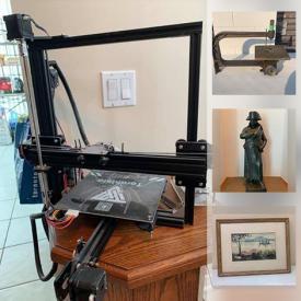 MaxSold Auction: This online auction features prints, Royal Stafford china, Mikasa china, books, carvings, pottery, uncut baseball card sheet, lamp, chocolate pot, Pyrex bowls, Tarantula 3d printer and much more!