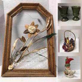 MaxSold Auction: This online auction features decorator's supplies including Silk Flowers, Bouquets, Ribbons, Baskets, Vases, Year-Round centerpiece decor items, Ceramic figurines, Candles, Sewing Notions, Flower Pots, as well as Novelty Clothing, home accent treasures and much more!