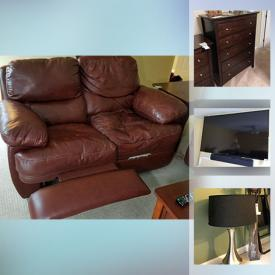"""MaxSold Auction: This online auction features furniture such as reclining leather sofa, side tables, and dresser with mirror, lamps, Blu-Ray player, Sonos sound system, 60"""" Sony TV, dishware, cookware, Black and Decker drill, glassware, and more!"""