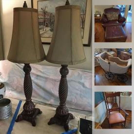 MaxSold Auction: This online auction features Spode, silver plate, furniture such as vintage desk, wooden wardrobe, teak cabinet, bookshelves, and leather couch, lamps, Christmas decor, Pioneer speakers, antique spinning wheel, DVDs, books and much more!