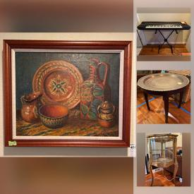 MaxSold Auction: This online auction features original art, vintage tins, furniture such as vintage curio cabinet, leather couch, storage cabinets, media cabinet, and oak roll top desk, office supplies, lamps, computer accessories, costume jewelry, books, Casio keyboard, dishware, pottery, Oritron DVD player, Sharp mini stereo, Realistic speakers, electric patio grill, Whirlpool dryer, Whirlpool washer and much more!