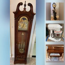 MaxSold Auction: This online auction features Henry Miller piano, Lladro, Aynsley, silver plate, Royal Doulton, furniture such as upholstered sofa, arm chairs, wood buffet, and dining room chairs, area rugs, grandfather clock, glassware, wall art, small kitchen appliances, cookware, Frigidaire refrigerator, board games, children's toys, exercise bike, Christmas decor, costume jewelry, garden decor, men's bicycle, garage hoist, lawn mowers and much more!