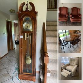 MaxSold Auction: This auction features dressers, nightstands, coffee tables, Hurricane lamps, grandfather clock, artwork, statues, pottery and much more.