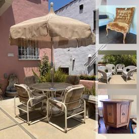 MaxSold Auction: This online auction features furniture such as a patio set, wicker chairs, chest of drawers, nightstands, dresser, futon sleeper, chairs, china cabinet, headboard, vintage table, Bassett Furniture sideboard, china cabinet, vintage chairs, vintage settee, lighted display cabinet, vintage rolling side table, vintage chair and more, silverware, serving ware, ACI Golden Maple Serveware, Noritake Serving-ware Set, Sango Sheffield Plate Set & More, vintage chandeliers, tea sets, silver plated goblets, small kitchen appliances, cube seats, speakers, Hotpoint Dryer And Wheel Barrel, TV and much more!