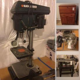 MaxSold Auction: This online auction features a High-End Granite-Top Bar, Sectional Sofa, Crafting Supplies, ping pong table, Craftsman Air Compressor, Skilsaw Table Saw, Automotive Accessories, Delta Miter Saw, Black And Decker Drill Press, Legos, Weights, Costume Jewelry and much more!