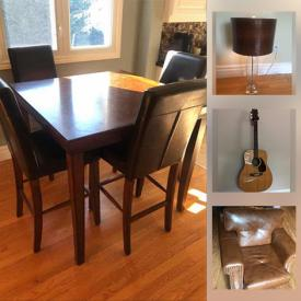 MaxSold Auction: This online auction features a Poker Table, Acoustic Guitars, Sterling flatware, Barstools and Barware, Dining room set, Antique Bible, Underwood Typewriter, Club chairs, Fitness Equipment, Blu-Ray player, Sofa Bed, DVD collections, Cookware, Coffee Shop Mugs, Signed Original Art & numbered Prints, Office Furniture, Equipment & supplies and much more!