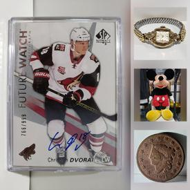 MaxSold Auction: This online auction features Pro Sports trading cards including numbered, signed, mint, NHL, Baseball. Vintage Pez, Women's watches including Gold, Cabbage Patch Dolls, Jumbo Mickey Mouse plush dolls, Hot Wheels & matchbox, Superheroes, Classic Novels, 19th Century Coins & Bibles and much more!