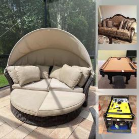 MaxSold Auction: This online auction features Sofa & Loveseat, Framed Wall Art, Washer & Dryer, Watches, Outdoor Furniture, Generator, Lawnmower, Garden Tools, Pool Table, TV, Treadmill and much more!