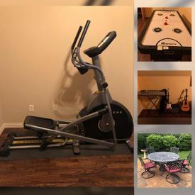 MaxSold Auction: This online auction features Hand Carved Wood Tables, Theater Chairs, Air Hockey table, Instruments, Weight machine, Elliptical machine, patio Furniture and much more!