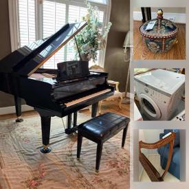 MaxSold Auction: This online auction features a Grand Piano, Solid wood Antique and Vintage furniture, including American Drew, Artisan Pottery and Ceramics, Signed Original Art & numbered Prints, Artificial Plants, Florals & Topiaries, Waterford Crystals, Pet needs, Heirloom Dolls, a Harp, TVs, Washer & Dryer, Dickens Village Collectible Figures, Pie Safe, Small Kitchen Appliances, Food prep, & gadgets, Stemware and much more!