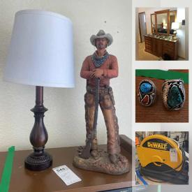 MaxSold Auction: This online auction features Sterling Silver jewelry, Furniture, Steamer Vacuums, Side Tables, Lamps, Luggage, Hat collection, Artwork, Mirrors, Antiques, MCM, Electronics, Model Trains, Tools and much more.