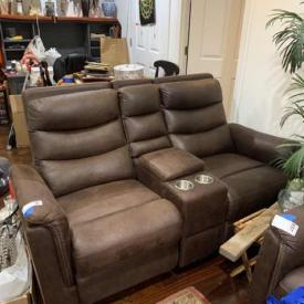 """MaxSold Auction: This online auction features silver plate, 47"""" Vizio TV, furniture such as hutch, dining table with chairs, office desk, and recliner sofas, bookcases, glassware, lamps, area rugs, wall art, exercise bike and much more!"""