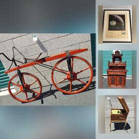 MaxSold Auction: This online auction features Antique Bicycle, Orphanage School Desk. Wood Stamps, Ancient Art, Signed Photographs & Memorabilia, Antique Toys, Tintype Photographs, Art Glass and much more!