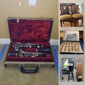 MaxSold Auction: This online auction features jewelry, furniture, musical instruments, collectibles, vintage items, vintage sewing machine, lamps, dishware, barstool, books, chinaware, flatware, cups, silverware, Wedgwood, miniature, Cuckoo Clocks, fabric, pillows, Luminare Candles, clothing, beddings, golf bags, games ad puzzles, cleaning supplies, scale, power and hand tools, rug and much more.