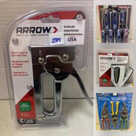MaxSold Auction: This online auction features NIP hand tools such as screwdrivers, hammers, aviation snips, and pliers, drill bit sets, socket sets, clamps and much more!