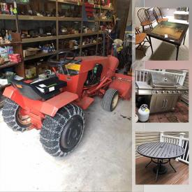 MaxSold Auction: This online auction features a wood frame futon, vintage chests, vintage wood table, vintage chairs, bookcase, upholstered chair, Pingpong table, Queen bed frame, vintage tables, wicker chair, cabinet, oak shelving unit, metal shelving units and more, Case riding tractor, snowblower, trellises and patio decor, bike and rack, ladders, planters, Speedaire air compressor, two-ton shop hoist, Central Pneumatic bast cabinet, hardware, hitch with ball, electric polisher, engine withstand, wood boxes, Pneumatic tools, welding, soldering tools, car radios, vintage license plates, small household appliances, Corningware, pottery, golf clubs, Waterford, Lenox, antique leaded glass window, table linens, toys, lamps, Weslo treadmill, ceiling fan, Kenmore dehumidifier, Christmas ornaments, storage bins, rugs, plywood, wall art and much more!