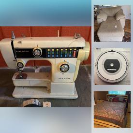 MaxSold Auction: This online auction features wicker furniture, rugs, plants and outdoor decor, Christmas decor, barware, bathroom decor, lamps, TV and other electronics, small kitchen appliances, wall art, wicker shelving, wicker loveseat, safari decor, Roomba, bedframe, dresser, coats and much more!