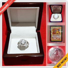 MaxSold Auction: This online auction features Fine Gold & Diamond and Gemstone Jewelry, Silver Coins, Trading Cards including Pokemon 1999 Base sets, Numbered Pro Sports Trading cards, Uncirculated coins and Sequential currency and much more!