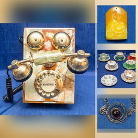 MaxSold Auction: This online auction features Amber Carved Pendants, Etched Jade Gold Gilt Spinach Panels, Porcelain Drawer Pulls, Table Lamps, Cameras, Collectible Teacups, Men's Dress Shoes and much more!