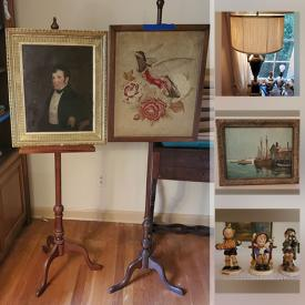 MaxSold Auction: This online auction features Hummel, sterling silver, Royal Doulton, Limoges, silver plate, Lenox, Lladro, curio cabinet, shelving, lamps, glassware, signed wall art, vintage toys, holiday decor, books, vinyl records, children's toys, costume jewelry, Wii controllers and much more!