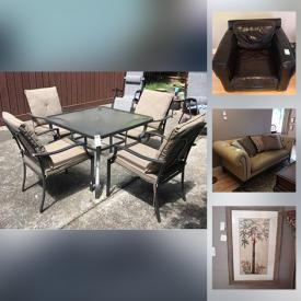 MaxSold Auction: This online auction features framed artwork, area carpet, leather furniture, patio set, dividers, china and much more!