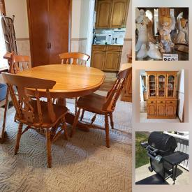 MaxSold Auction: This online auction features furniture such as an oak dining set, buffet and hutch, curio, bedframe, highboy dressers, chests and more, clothing, bedding, small kitchen appliances, kitchenware, propane grill, tools such as a chainsaw, hedger, sander, sprayer, shop vac and more, sports items, planters, garden decor, electronics, yard tools, teacups and much more!