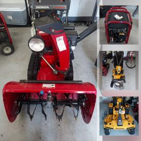 MaxSold Auction: This online auction features Lenox, Royal Doulton, grandfather clock, furniture such as sleeper sofa, Ethan Allen table and chairs, king-size poster bed, sleigh bed, and bookcases, Cub Cadet chipper, Cub Cadet commercial mower, snow blower, exercise equipment, planters, power tools such as table saw and grinder, compressor, outdoor lighting and much more!