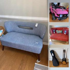 """MaxSold Auction: This online auction features 21"""" Dynex TV, loveseat, wooden table with benches, bar stools, sitting chairs, L-shaped desk, wall art, children's toys such a play kitchen, remote control SUV, Lego, Disney, dollhouse and girl's bike, Weber grill, ukulele, glassware, small kitchen appliances, lamps, power tools, pressure washer and much more!"""