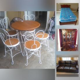 MaxSold Auction: This online auction features furniture such as bed frames, buffet and hutch, TV stand, shelving units, bookcases, desk and more, men's clothing, household tools, Mickey Mouse, office supplies, books, satchels, MCM starburst clock, wood carving supplies, CDs, tools, bicycle, glassware, small kitchen appliances, speaker system, stair climber, drum, Electrohome Apollo Record Player, electronics and much more!