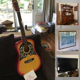 """MaxSold Auction: This online auction features 42"""" Vizio TV, Amazon Alexa, collectible plates, sterling silver, silver plate, NIB dollhouse kit, Danby freezer, furniture such as wooden dressers, wingback chairs, mahogany table, and vintage highboy, holiday decor, luggage, sewing machines, lamps, antique dolls, wall art, glassware, dishware, small kitchen appliances, DVDs, Hess trucks, acoustic guitar, costume jewelry, crafting supplies and much more!"""