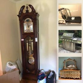 MaxSold Auction: This online auction features furniture such as French provincial style hutch, dressers, nightstands, carved headboard, entryway table, dining table and chairs, sideboard, sofa loveseat, media stand, patio furniture, desk, outdoor hammock, chairs and more, grandfather clock, dehumidifier, Jenn-Air natural gas grill, bicycle, telescope, flower pots, electronics, sports items, stationary bike, Proforma treadmill, wall art, Oriental decor, crystal chandelier, office items, fishing rods, bike rack, yard tools and much more!