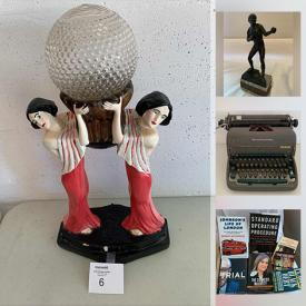 MaxSold Auction: This online auction features furniture such as a vintage library table, Arts & Crafts library desk, bookshelves, Native artist card table, glass-topped table, step stoop and workbench, Conn theater organ and more, Remington adding machine, figurines, Topaz desk video magnifier, vintage Remington typewriter, books, cameras, Taj Mahal, Aztec calendar, Ergo Strausbourg wall clock and more!