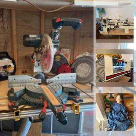 MaxSold Auction: This online auction features Power & Hand Tools, Air Filtration System, Exercise Bicycle, Camping Gear, Garden Fountain, Garden Tools, Art Pottery, Hand Carved Bears, Banjo in Case, Printers, Flatware and much more!