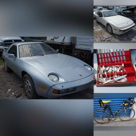 MaxSold Auction: This online auction features 1978. 1985 and 1986 Porsches, Aquila Giant Racing & Touring Bicycles, Extra Bike tires, rims, & bins of parts, Flatware, Stereo Equipment & Components, Small Kitchen Appliances, Food prep, & gadgets, Camping items and much more!