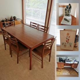 """MaxSold Auction: This online auction features MCM Teak Furniture, Art Pottery, Art Glass, Inuit Soapstone, Office Supplies, MCM Leather """"Stouby"""" Chair, Chest Freezer, Electric Lift Chair, Push Mower, Garden Tools, Salt & Pepper Shakers, Vintage Perfume Bottles, Costume Jewelry and much more!"""