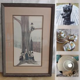 MaxSold Auction: This online auction features Art Glass, Cast Iron Doorstop, Martin Machecek Triptych, Garfield LE Lithograph, Art Pottery, Framed Art Work, Capodimonte Flowers, Gift Sets, Camping Gear, Craft Supplies, Vintage Head Vases, Collectible Teacups, Vintage Doll Furniture, Tools and much more!