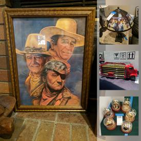 MaxSold Auction: This online auction features John Wayne memorabilia, Marilyn Monroe and Elvis memorabilia, collector plates, vintage Hollywood posters, Disney figurines, Babe Ruth, John Wayne 'The Duke' Express train set, pictures, DVDs, CDs, art, Franklin Mint, clocks, antique fishing poles, vintage cameras, steins, diecast model cars and much more!