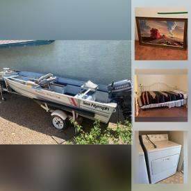 MaxSold Auction: This online auction features fishing boats with trailers, Charboil griller, furniture such as a bistro set, file cabinets, storage, day bed, dresser with mirror, chairs, cabinets and more, board games, rugs, Boyscout memorabilia, costume jewelry, Diesel Hustler train set, office items, Sears typewriter, faux plants, kitchenware, flatware, toys, decor, Elvis collectibles, lamps, washer and dryer, tool kit, toolbox and much more!