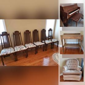 """MaxSold Auction: This online auction features Heintzman piano, fine china, furniture such as Palliser cabinets, antique table, dining chairs, La-Z-Boy recliner, and upholstered sofa, yard tools, shelving units, sports equipment, power tools, chandelier, ceramics, home decor, car care, books, records, children's toys, DVD player, Realistic receiver, Pioneer speakers, Sony 42"""" TV, lamps, golf clubs, bookcases, Christmas decor, CDs and much more!"""