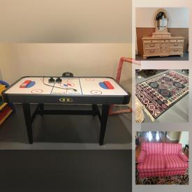 MaxSold Auction: This online auction features air hockey table, crystal ware, furniture such as leather armchairs, Gibbard side table, Sligh desk, and sofas, area rugs, lamps, children's toys, small kitchen appliances, water skis, shelving units, framed wall art, accessibility ramp and much more!