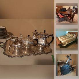 """MaxSold Auction: This online auction features silver plate, Royal Doulton, Bunnykins, crystal ware, Lladro, Limoges, furniture such as La-Z-Boy recliners, end tables, stools, and king-size bed, home decor, area rugs, cookware, small kitchen appliances, file cabinets, garden decor, leaf blower, Big Green Egg BBQ, lamps, glassware, elliptical, framed wall art, Christmas decor, luggage, vintage Coca-Cola cooler, Shimano Trek bikes, 26"""" Samsung TV, stained glass, automotive care items, power tools, hardware, hand tools and much more!"""