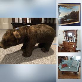 MaxSold Auction: This online auction features furniture, dishware, glassware, electronics including camera, VCR, projector, and televisions, wall art, home decor, power tools and gardening equipment, stuffed animals, pottery and much more!