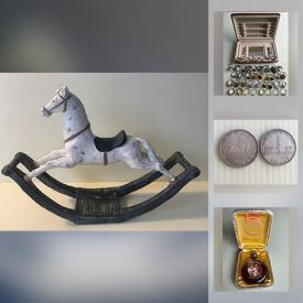 MaxSold Auction: This online auction features vintage collector coins, Lego, costume jewelry, hardware, original wall art, stained glass, Halcyon Infinity diving system, art glass, vintage ceramics, vintage LPs, sports collectibles, antique chandelier, wooden masks and much more!
