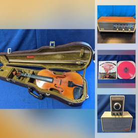 MaxSold Auction: This online auction features vintage electronics, musical instruments, vinyl records, MCM kitchenware, toys, beer stein, stone carving, Pyrex, movie posters, pop culture T-shirts, antique book and much more!
