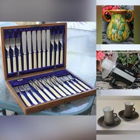 MaxSold Auction: This online auction features Vintage Camera & Accessories, Art Glass, Art Pottery, Vintage Ceiling Light, Vintage Books, Vintage Cast Iron, Antique Stoneware Crock, Antique Bartlett Prints, Vintage Jens Quistgaard Cups and much more!